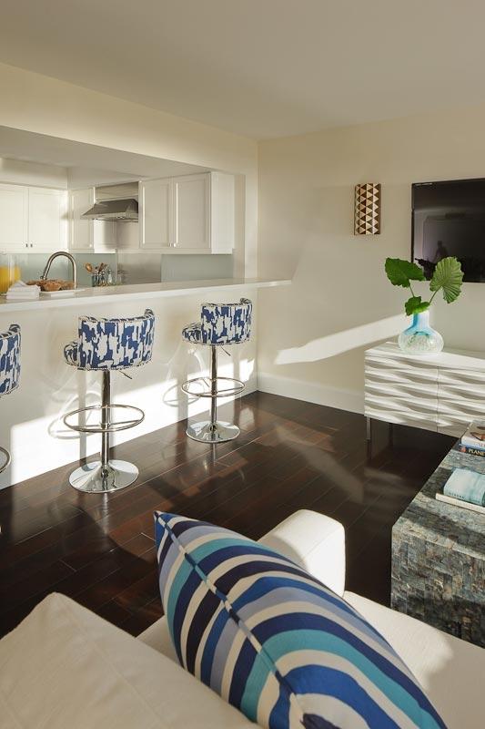 Main blue, white, living room, beach