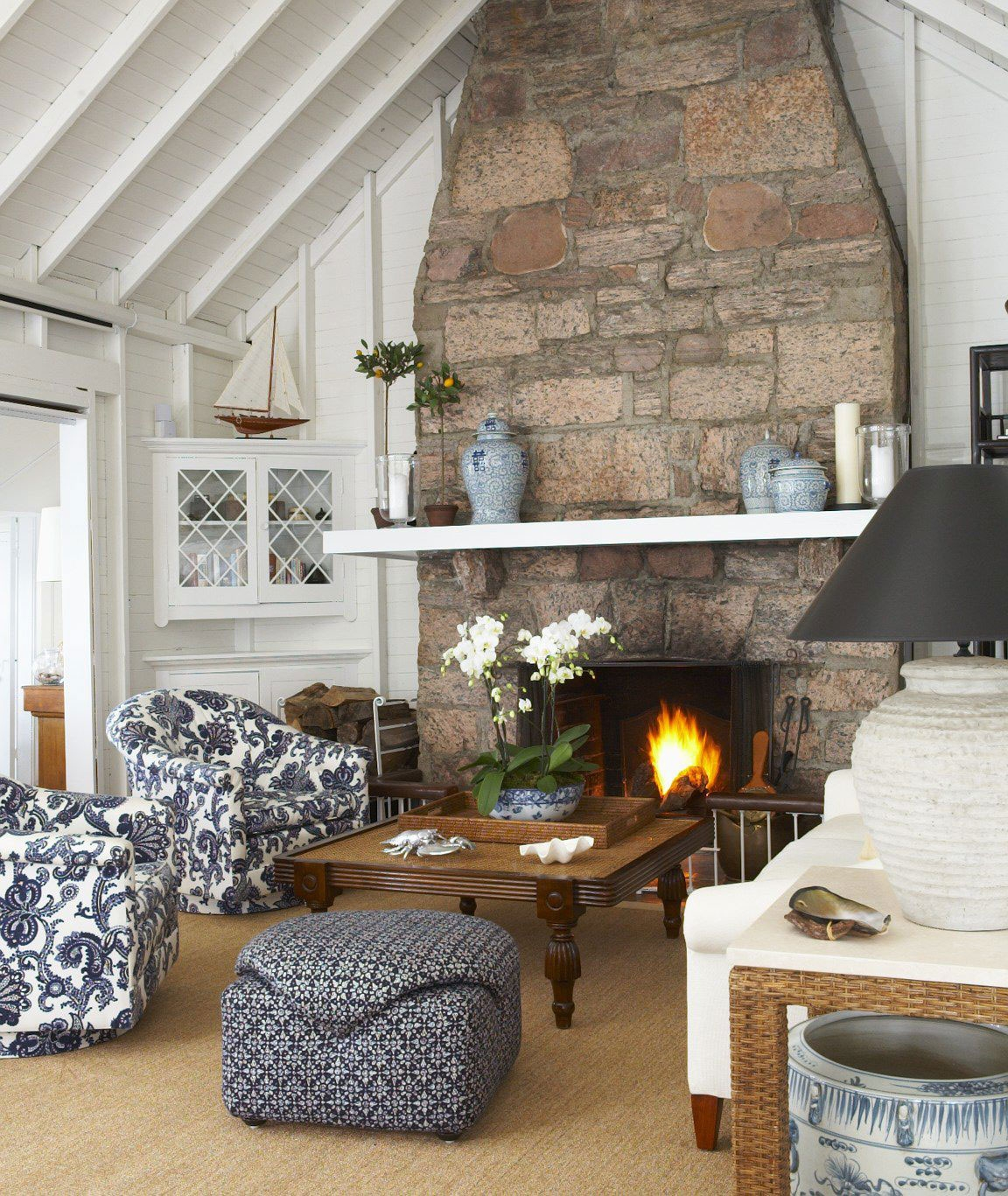 Main Living Room Cottage Blue White